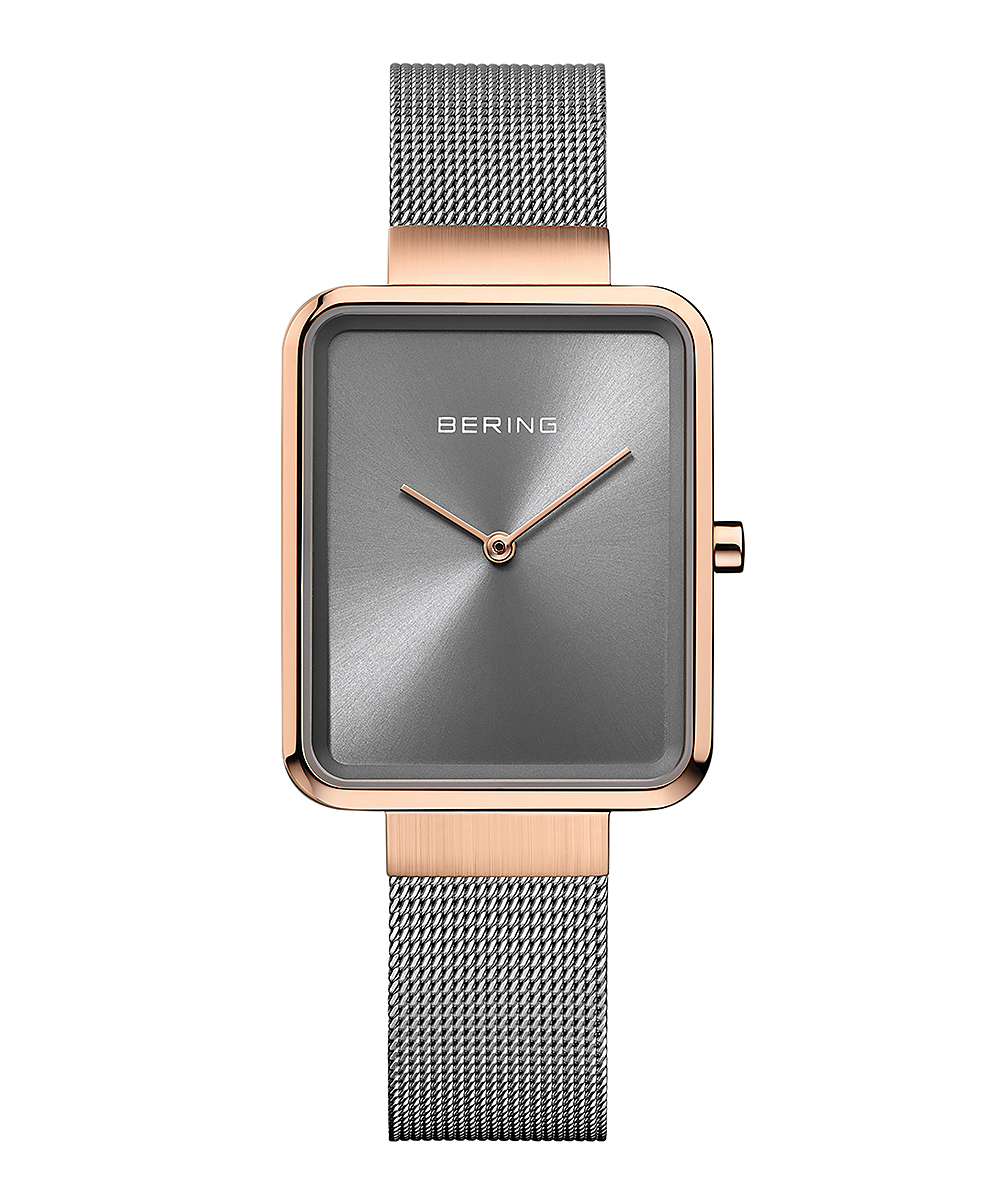 BERING Ladies Smart Square グレー×ローズゴールド