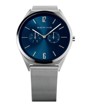 BERING Mens Slim Multifunction ブルー×シルバー