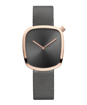 BERING Ladies KiBiSi Pebble Watch 34mm チャコールグレー×ゴールド