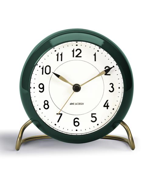 TABLE CLOCK STATION 43677 ホワイト×グリーン