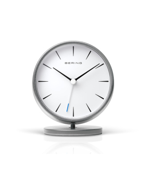 BERING Classic Table Clock ホワイト×シルバー