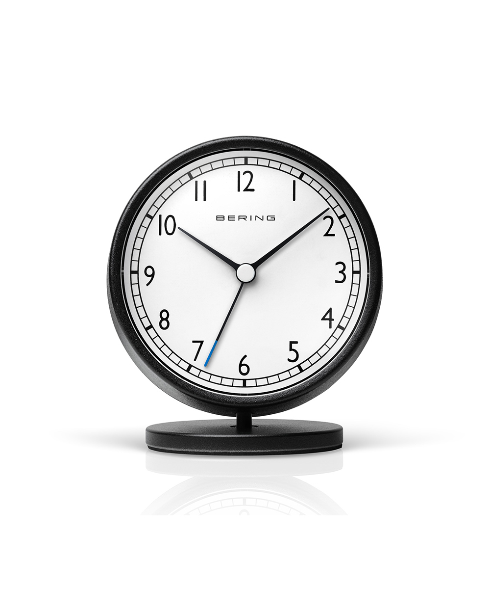 BERING Classic Table Clock ホワイト×ブラック